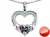 Celtic Love by Kelly Hands Holding 8mm Heart 1inch Claddagh Pendant With Genuine Mystic Topaz