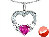 Celtic Love by Kelly Hands Holding 8mm Heart 1inch Claddagh Pendant With Created Pink Sapphire