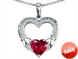 Celtic Love by Kelly Hands Holding 8mm Heart 1inch Claddagh Pendant With Created Ruby