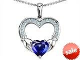 Celtic Love by Kelly Hands Holding 8mm Heart Claddagh Pendant With Created Sapphire style: 305188