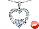 Celtic Love by Kelly Hands Holding 8mm Heart Claddagh Pendant With Genuine White Topaz