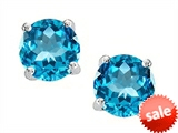 Original Star K™ Round 7mm Genuine Blue Topaz Earrings Studs style: 305195