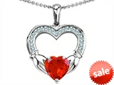Celtic Love by Kelly Hands Holding 8mm Heart 1inch Claddagh Pendant With Simulated Mexican Fire Opal style: 305197