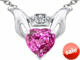 Celtic Love by Kelly 8mm Heart Claddagh Pendant With Created Pink Sapphire
