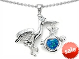 Original Star K™ New Baby Stork Pendant with Heart Shape 8mm Created Blue Opal