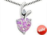 Original Star K™ Created 8mm Heart Shaped Pink Opal Pendant