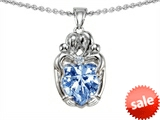 Original Star K™ Loving Mother And Twins Family Pendant With Heart Shape Simulated Aquamarine style: 305271