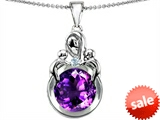 Original Star K™ Large Loving Mother With Twins Children Pendant With Round 10mm Simulated Amethyst