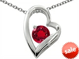 Original Star K™ Round 7mm Created Ruby Floating Heart Pendant style: 305273