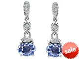 Original Star K™ Simulated Oval Aquamarine 1.50 Inch Hanging Drop Earrings
