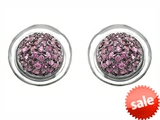 Original Star K™ Round Puffed Earrings with Created Pink Sapphire