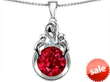 Original Star K™ Large Loving Mother With Children Pendant With Created Round Ruby style: 305277