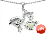 Original Star K™ New Baby Stork Pendant with 8mm Heart Shape Created Opal