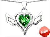 Original Star K™ Wings Of Love Pendant with Heart 7mm Simulated Emerald