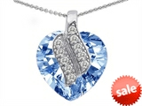 Original Star K™ Large 15mm Heart Shaped Simulated Aquamarine Soul Mate Pendant style: 305280