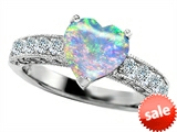 Original Star K™ Heart Shape 8mm Simulated Opal Engagement Ring style: 305284