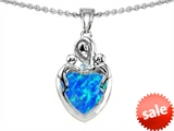 Original Star K™ Loving Mother Twin Children Pendant With Heart Shape 8mm Simulated Blue Opal