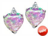 Original Star K™ Heart Shape 7mm Created Pink Opal Earring Studs