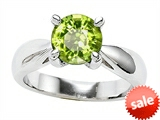Original Star K™ Genuine Round 7mm Peridot Engagement Ring