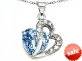 Original Star K™ Heart Shape 12mm Simulated Aquamarine Pendant
