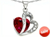 Original Star K™ Heart Shape 12mm Created Ruby Pendant style: 305294