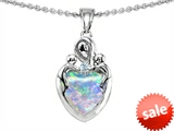 Original Star K™ Loving Mother With Children Pendant With Heart Shape 8mm Simulated Opal