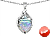 Original Star K™ Loving Mother With Child Family Pendant With 8mm Heart Shape Simulated Opal style: 305297