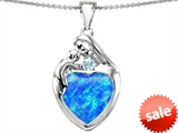 Original Star K™ Large Loving Mother With Child Family Pendant With 12mm Heart Created Blue Opal