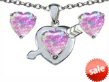 Original Star K™ Created Pink Opal 8mm Heart with Arrow Pendant with matching earrings style: 305301