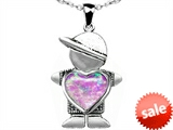 Original Star K™ Little Boy Holding 8mm Heart Mother Birthstone Pendant With Created Pink Opal