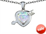 Original Star K™ Heart with Arrow Love Pendant with Heart Shape 8mm Created Opal