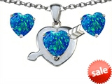 Original Star K™ Created Blue Opal 8mm Heart with Arrow Pendant with matching earrings style: 305304