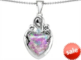 Original Star K™ Large Loving Mother Twin Children Pendant With Created Heart Shape 12mm Pink Opal style: 305306