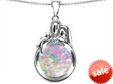Original Star K™ Loving Mother And Father With Child Family Pendant With Round 10mm Created Pink Opal