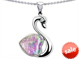 Original Star K™ 1inch Love Swan Pendant With Heart Shape 8mm Created Pink Opal style: 305313