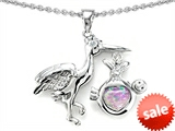 Original Star K™ New Baby Stork Pendant with Heart Shape 8mm Created Pink Opal