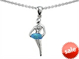 Original Star K™ Ballerina Dancer Pendant with Round 7mm Created Blue Opal