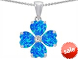 Celtic Love by Kelly 6mm Heart Shape Simulated Blue Opal Lucky Clover Pendant style: 305317