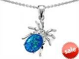 Original Star K™ Spider Pendant With 9x7mm Oval Created Blue Opal