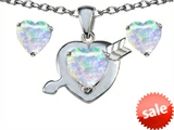 Original Star K™ Heart Shape 7mm Simulated Opal Heart with Arrow Pendant with matching earrings style: 305327