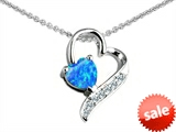 Original Star K™ 7mm Heart Shape Created Blue Opal Heart Pendant