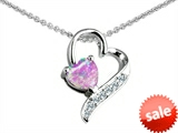 Original Star K™ 7mm Heart Shape Created Pink Opal Heart Pendant
