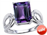 Original Star K™ Large Emerald Cut 10x8mm Simulated  Alexandrite Solitaire Ring