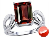 Original Star K™ Large Emerald Cut 10x8mm Genuine Garnet Solitaire Ring