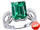 Original Star K™ Large Emerald Cut 10x8mm Simulated Emerald Solitaire Ring