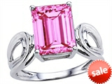 Original Star K™ Large Emerald Cut 10x8mm Created Pink Sapphire Solitaire Ring style: 305367