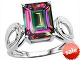 Original Star K™ Large Emerald Cut 10x8mm Rainbow Mystic Topaz Solitaire Ring style: 305370
