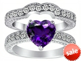 Original Star K™ 8mm Heart Shape Genuine Amethyst Wedding Set