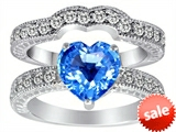 Original Star K™ 8mm Heart Shape Genuine BlueTopaz Wedding Set style: 305387