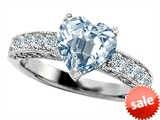 Original Star K™ 8mm Heart Shape Simulated Aquamarine Engagement Ring style: 305390